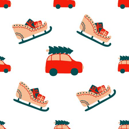 Seamless Christmas pattern of repeating elements - a red car carries a spruce on the roof and a holiday sleigh with gifts. Vector illustration in scandinavian style of hand drawing. Bright ornament for print, wrap, textile, fabric