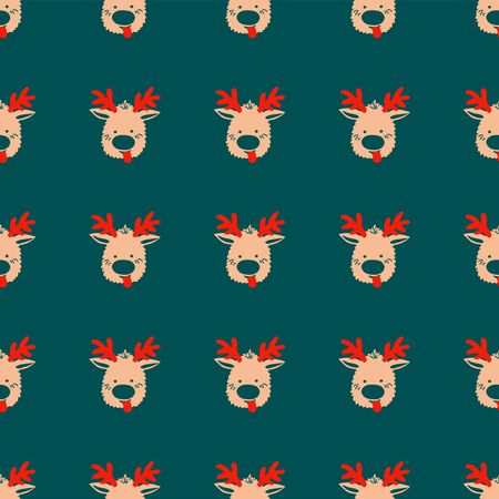Seamless Christmas pattern of repeating elements - funny deer on a green backdrop. Vector illustration in scandinavian style of hand drawing. Bright ornament for print, wrapping, textile, fabric