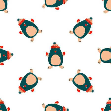 Seamless vector pattern New Year and Christmas in the style of Scandinavian simple hand drawing. Traditional holiday cute penguin, socks, reindeer. Bright ornament for print, wrap, textile, fabric