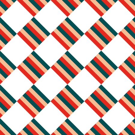 Seamless Christmas pattern of striped squares staggered diagonally on a white background. Vector illustration bright green, red ornament for print, wrapping, textile, fabric Çizim