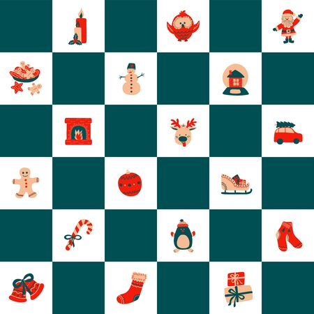 Seamless Christmas pattern of green squares staggered on a white background with cute holiday characters - deer, santa, penguin, owl, snowman. Vector illustration ornament for print, wrapping, textile.