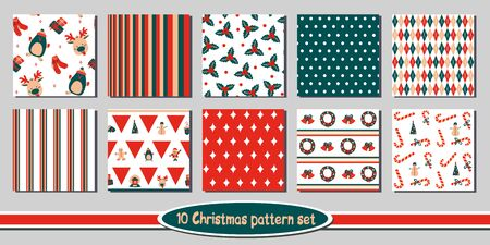 Set of 10 seamless Christmas vector patterns - includes funny bright backgrounds with cute holiday characters, symbols of winter and new year, floral elements, stripes, plaid, argyle, polka dots, triangles, borders.