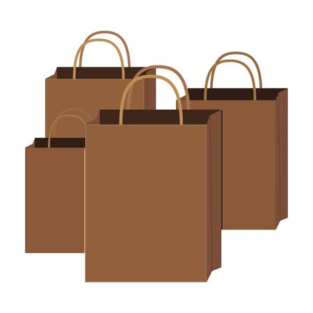 Vector illustration of for paper bags for shopping, wrapping paper packet, fashionable, modern and eco-friendly shopping packaging, in a simple flat style.