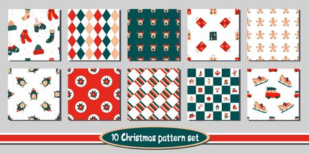 Set of 10 seamless Christmas vector patterns - includes funny bright backgrounds with cute holiday characters, symbols of winter and new year, floral elements, checkered, plaid, argyle, circles