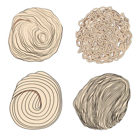 Japanese ramen noodles vector set of four types - round, flat, wavy, rectangular, thin, medium and thick. Stock illustration isolated on white background, sketch in the doodle style of hand drawing