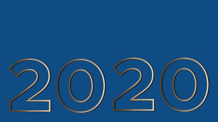 Vision 2020 on a classic blue background gold large contour figures. Vector illustration with copy space is suitable for a banner, greeting card and template. Illusztráció