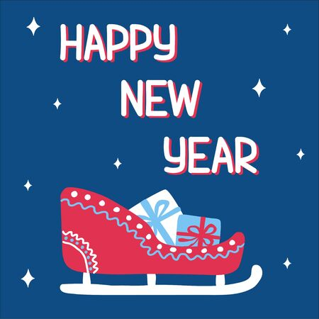 Happy new year trend patterned sleigh with gifts in scandinavian doodle style with an inscription on the background of classic blue. Vector illustration, square format., suitable for greeting card. Ilustração