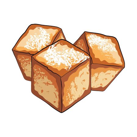 Tofu fried in Chinese style on white background. Vegetarian food, Asian culinary ingredient. Vector stock illustration cartoon 矢量图像