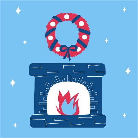 Merry christmas classic blue fireplace and pink wreath in scandinavian doodle style. Vector happy new year illustration, simple bright objects, square format. Suitable for a greeting card or banner