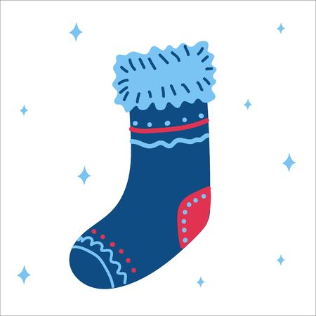 Christmas traditional classic blue boot for gifts in scandinavian hand drawn style. Vector illustration, one simple bright object, square format. Suitable for social media, a greeting card or banner.