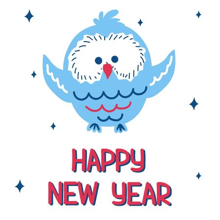New Year card with a cute blue owl on a white background with a pattern of snowflakes in scandinavian hand drawn style with lettering. Vector illustration, square format. Suitable for social media.