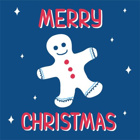 Christmas gingerbread man on a classic blue background with a pattern of snowflakes in scandinavian doodle style with lettering. Vector illustration - suitable for a greeting card or banner.