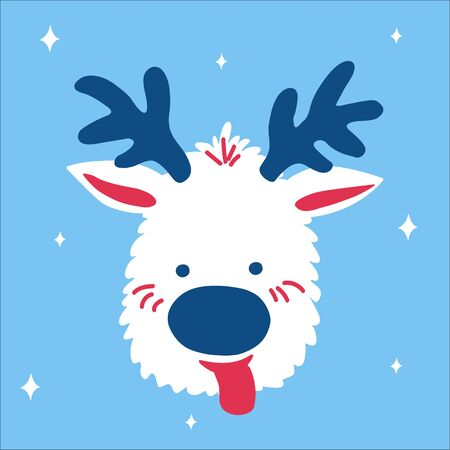 Cute Christmas deer with its tongue hanging out on a blue background with snowflakes in scandinavian doodle style. Vector illustration, one simple bright object, square format for social media Çizim