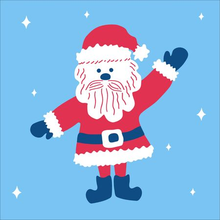 Christmas traditional cute cartoon character Santa Claus welcomes with raised hand on a blue background with snowflakes. Vector illustration, in scandinavian doodle style, square format.