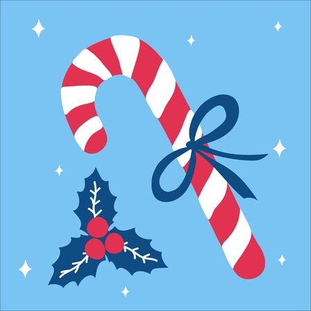 Christmas traditional sweet gift candy cane with a bow and beside it lies mistletoe on a blue background with snowflakes in scandinavian doodle style. Vector illustration, simple object, square