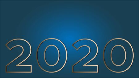 Vision 2020 on a classic blue gradient background gold large contour figures. Vector illustration with copy space is suitable for a banner, greeting card and template