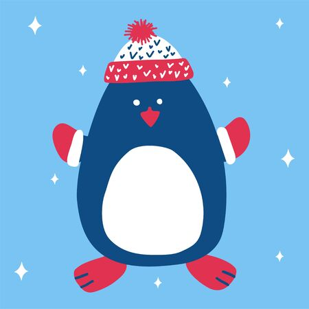 Christmas cute penguin in a knitted hat and mittens on a blue background with snowflakes in scandinavian hand drawn style. Vector illustration, suitable for a greeting card or banner