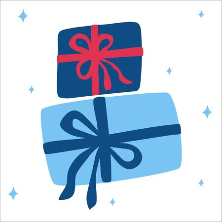Christmas traditional blue gifts with bows on a white background with snowflakes in scandinavian hand drawn style. Vector illustration, square format. Suitable for a greeting card or banner