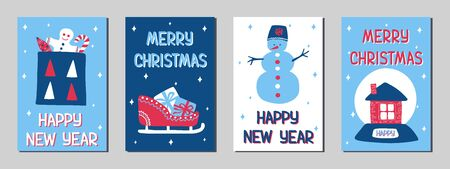 Set of Christmas and New Year greeting cards in the Scandinavian doodle style, classic blue, pink and white colors. Stock vector illustrations with symbols of holiday - gift, sledge, gingerbread man, snowman, snow globe. Çizim