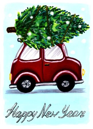 Funny red car lucky spruce on the trunk for Happy New Year in hand drawn retro style with lettering. Suitable for a greeting card. Raster stock illustration, bright object, rectangle vertical format