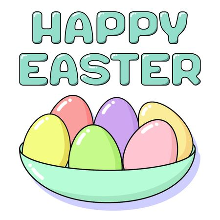 Happy Easter card with painted eggs in plate and lettering. Holiday concept coloring in pastel colors - pink, blue, yellow, green and coral. Square vector flat illustration isolated on white background Ilustração