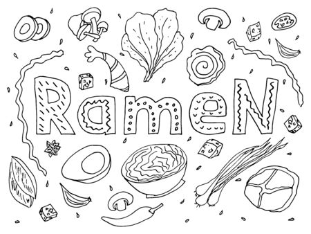 Japanese ramen noodles vector set of ingredients with lettering. Soup with chicken, eggs, carrots, onions in a miso broth. Stock illustration isolated on white background, sketch in the doodle style of hand drawing. Illusztráció