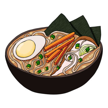 Japanese ramen soup vector. Tradition Asian meal with chicken, eggs, carrots, onions and noodles in a miso broth. Stock illustration isolated on white background, sketch in the doodle handraw style