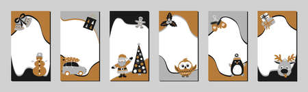 Set of Christmas stories template for social networks in the style of Scandinavian simple hand drawing. Holiday frames for photo with cute characters - Santa, reindeer, gingerbread man, snowman, penguin