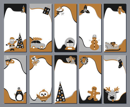 Set of 10 Christmas stories template for social networks in the style of Scandinavian simple hand drawing. Holiday frames in layers for photo with cute characters - Santa, reindeer, gingerbread man.