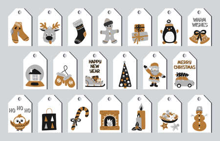 Set of Christmas and New Year gift tags in the Scandinavian doodle style, gold, silver and black colors. Stock vector illustrations with symbols of holiday. Traditional elegant labels for printing