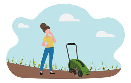 Lawn care equipment and service, aeration and scarification. The woman looks thoughtfully at the sparse withered lawn and scarifier. Concept vector illustration in flat style. Vetores