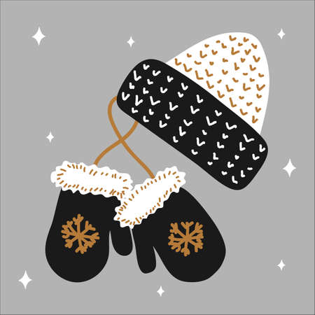 Christmas traditional winter hat and mitten mittens with snowflakes in scandinavian hand drawn style - gold, silver, black. Vector illustration, simple object, square format. Suitable for social media