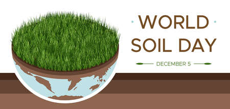 World Soil day and Earth day - vector illustration of an environmental concept to save the world. Isometric about caring for the earth and soil. Suitable for greeting card, horizontal banner, poster. Illusztráció