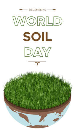 World Soil day and Earth day - vector illustration of an environmental concept to save the world. Isometric about caring for the earth and soil. Suitable for greeting card, stories, vertical banner.