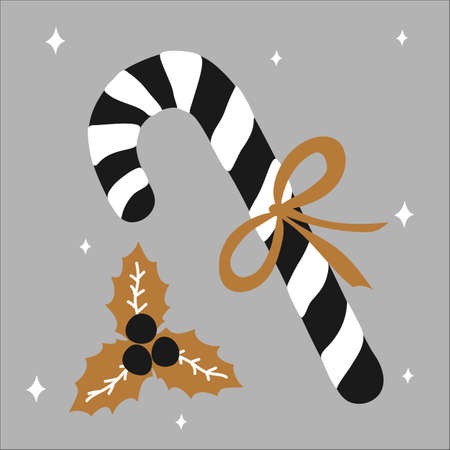 Merry Christmas traditional sweet gift candy cane with a bow and beside it lies mistletoe on a white background and gold, silver, black colors in scandinavian hand drawn style. Vector illustration, simple object, square. Ilustracja
