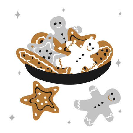 Christmas traditional plate with gingerbread men and cookies stars on a white background with snowflakes in scandinavian hand drawn style. Vector illustration, square format. Suitable for a greeting card or banner.