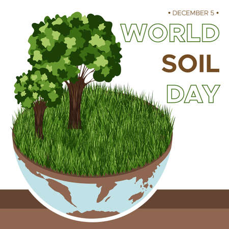 World Soil day and Earth day - vector illustration of an environmental concept to save the world. Isometric about caring for the earth and soil. Suitable for greeting card, banner and poster.