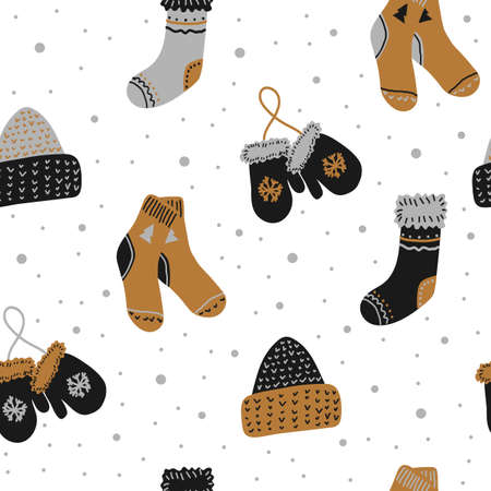 Seamless vector new year and christmas pattern in scandinavian simple hand drawing style. Traditional festive winter warm clothes - socks, hats, mittens. Bright ornament for print, wrapping, textile, fabric.