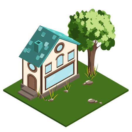 The isometric house is a two-story shop with an attic and Windows of different shapes. Turquoise roof with tiles, light cream facade, large showcase in the foreground.Vector illustration.