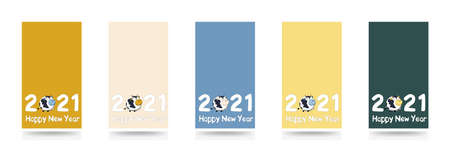 Set of banners Happy New Year 2021 vector stories background with sign and symbol of the year Bull or Ox. Trend colors Sail Champagne, Fortuna Gold, Tidewater Green. Vision vertical illustration is suitable for a stories, greeting card and social media Illusztráció