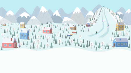 Winter landscape, snow-covered mountain village-houses, cars, Alpine resort, mountain with ski run and lift, skiers and snowboarders. Vector illustration in a flat style with copy space - banner. Ilustração