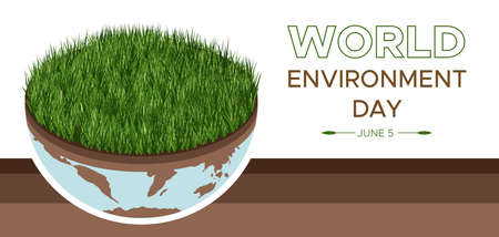 World Environment Day - vector illustration of an environmental concept to save the world. Isometric about caring for the earth. Suitable for greeting card, horizontal banner, poster. Illusztráció