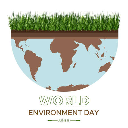 World Environment Day - vector illustration of an environmental concept to save the world. Isometric about caring for the earth. Suitable for greeting card, square banner, poster. Illusztráció