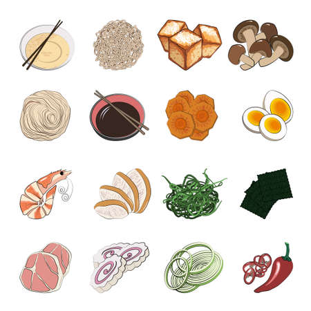 Traditional Japanese or Korean food - a big set of ingredients for traditional Oriental ramen noodle soups. Vector illustration in hand-drawn style on a white background. Vektorové ilustrace
