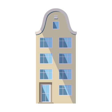 European beige old house in the traditional Dutch town style with a double gable roof, round attic windows and large storefronts. Vector illustration in the flat style isolated on a white background.