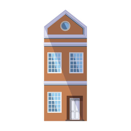European orange old house in the traditional Dutch town style with a gable roof, round attic window and large loft-style windows. Vector illustration in the flat style isolated on a white background.