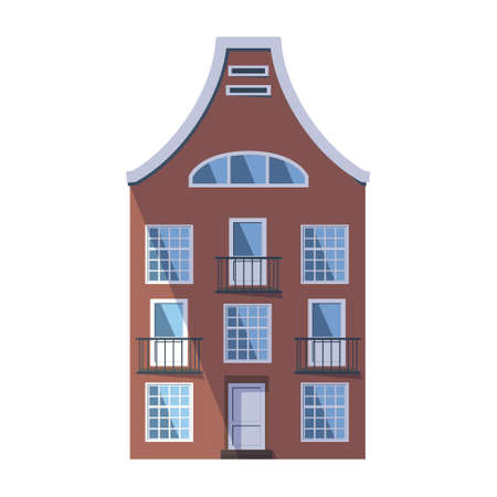 European brown old house in the traditional Dutch town style with a double gable roof, round attic windows and balconies. Vector illustration in the flat style isolated on a white background.