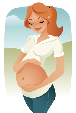 Pregnant woman caressing her tummy vector Stock Vector - 8785740