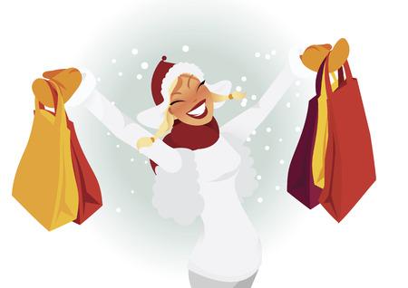 Woman shopping during winter vector Stock Vector - 8785730
