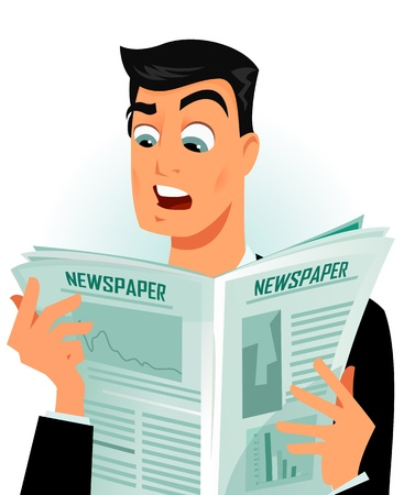 peri�dico: hombre leyendo algunas noticias impactantes Vectores